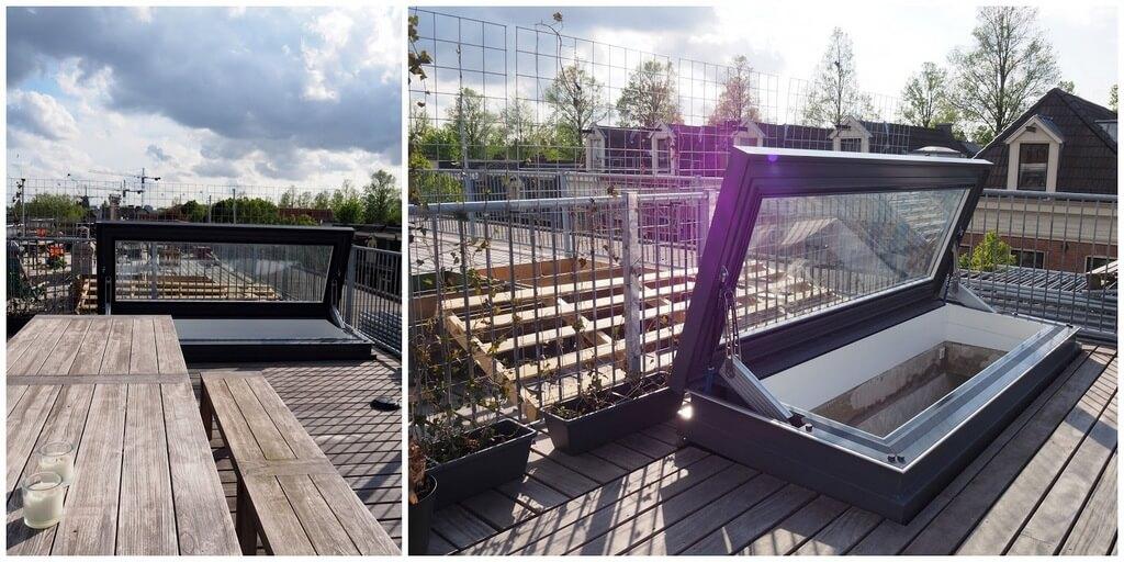 Takluckan är skräddarsydd, med extra längd för bekväm tillgång till takterrassen. Skydoor Amsterdam