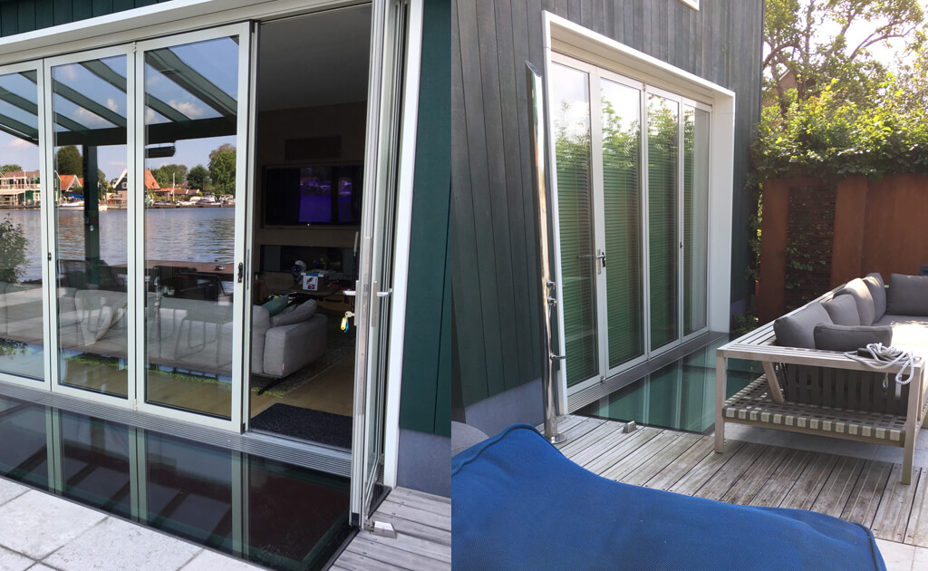 Walk-on glas som takfönster längs de franska dörrarna på terrassen