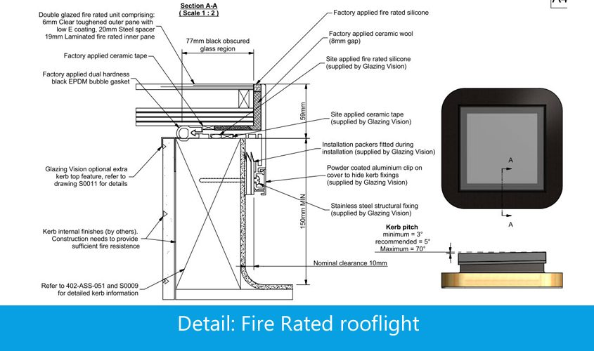 Fire Rated Rooflight 30 Minutes Integrity Glazing