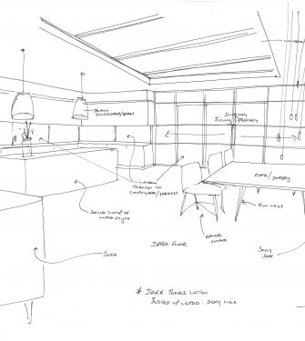 Bespoke Bi Parting Sliding Stacking Over Fixed Rooflight Concept Sketch