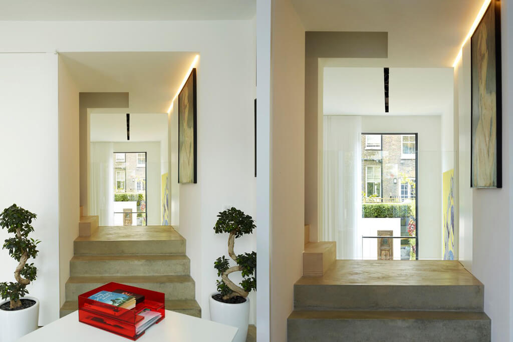 Sliding Rooflight on roof terrace Glebe Place by Stephen Fletcher Architects staircase
