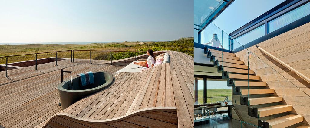 una ventana de tejado deslizante como acceso a la terraza en el tejado