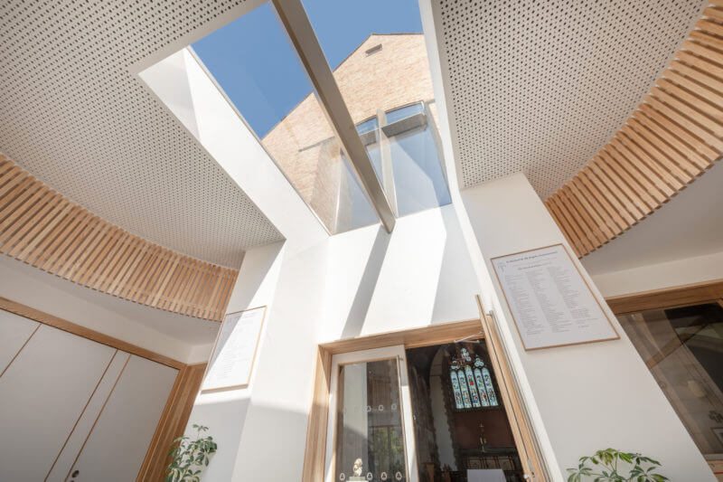 Frameless modular rooflight in church extension