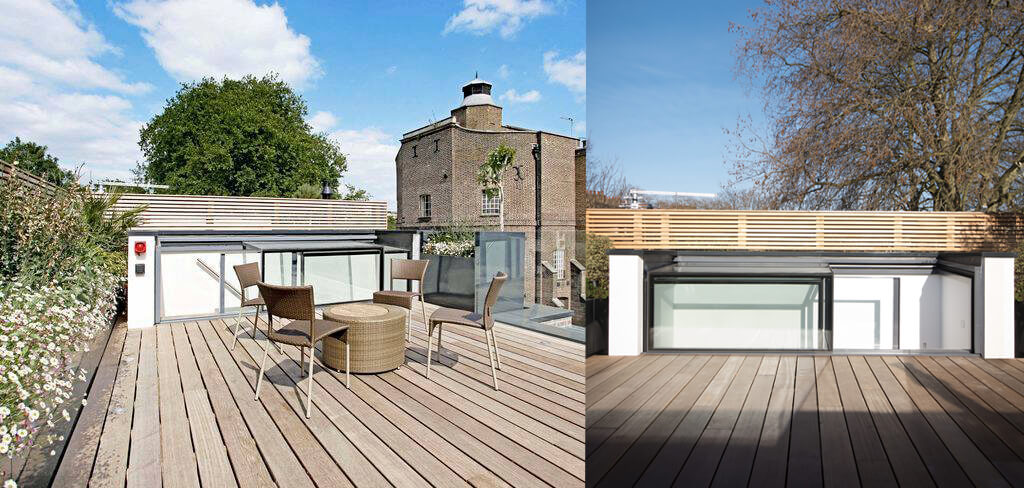 Three Wall Box on roof terrace